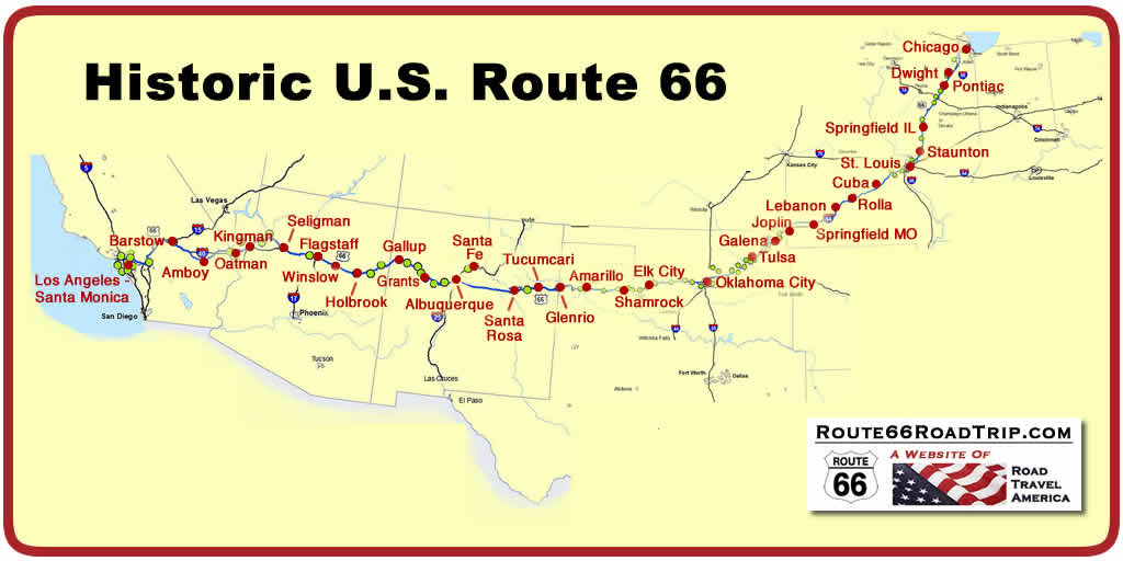 Historic U.S. Route 66 Map from Chicago to Santa Monica