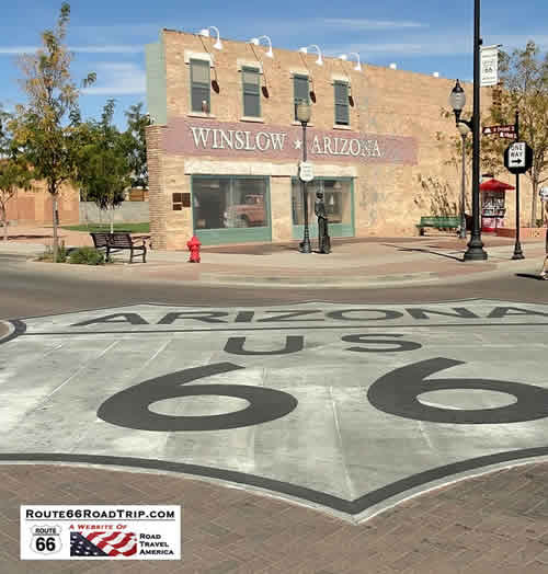 Standin on a Corner, in Winslow, Arizona, such a fine sight to see, on Route 66