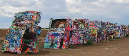 The Cadillac Ranch ... classic, half-buried Cadillacs! West of Amarillo Texas on I-40